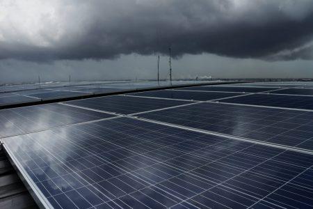 Solar PV Rooftop under Storm Cloud